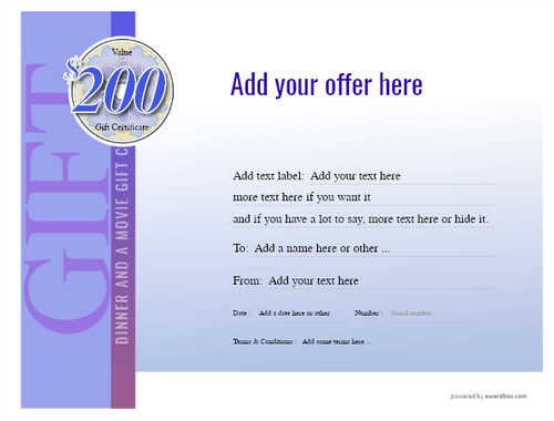 dinner and a movie gift certificate style3 blue template image-137 downloadable and printable with editable fields