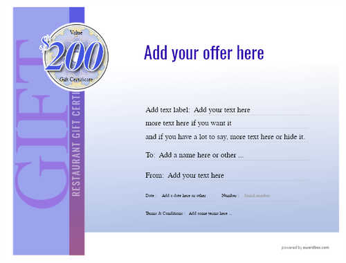 restaurant  gift certificate style3 blue template image-6 downloadable and printable with editable fields