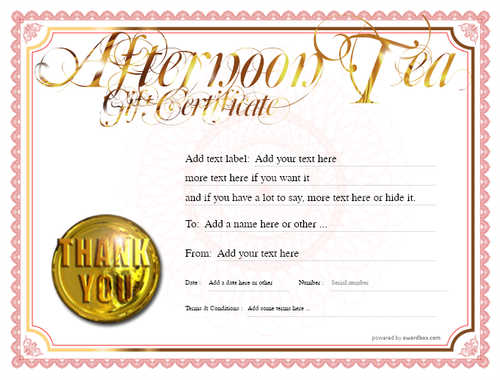 afternoon tea  gift certificate style4 red template image-86 downloadable and printable with editable fields