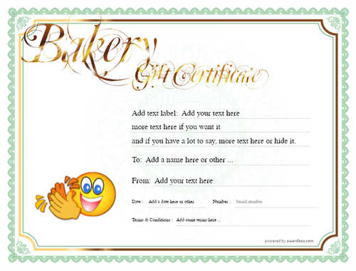 bakery gift certificate style4 green template image-166 downloadable and printable with editable fields