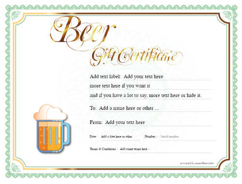 beer    gift certificate style4 green template image-192 downloadable and printable with editable fields
