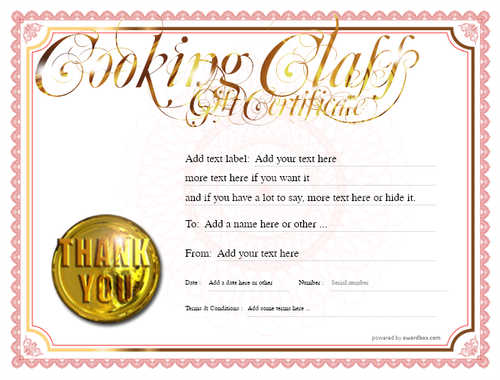 cooking class gift certificate style4 red template image-216 downloadable and printable with editable fields