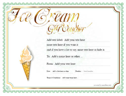 ice cream   gift certificate style4 green template image-244 downloadable and printable with editable fields