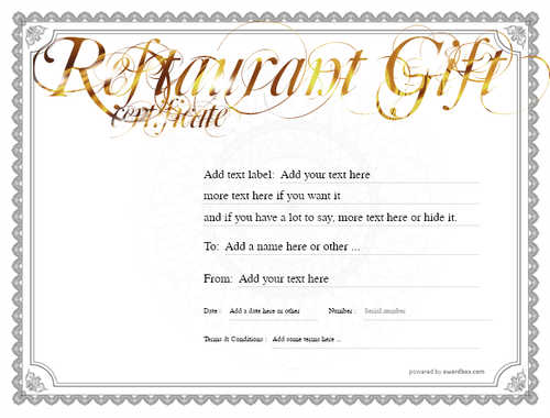 restaurant  gift certificate style4 default template image-8 downloadable and printable with editable fields