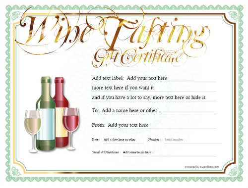 wine tasting gift certificate style4 green template image-270 downloadable and printable with editable fields