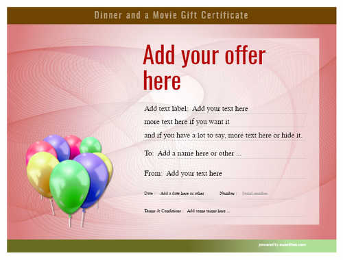 dinner and a movie gift certificate style6 red template image-143 downloadable and printable with editable fields