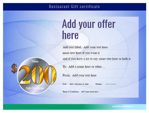 restaurant  gift certificate style6 blue template image-11 downloadable and printable with editable fields