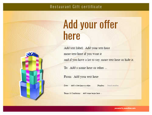 restaurant  gift certificate style6 yellow template image-10 downloadable and printable with editable fields