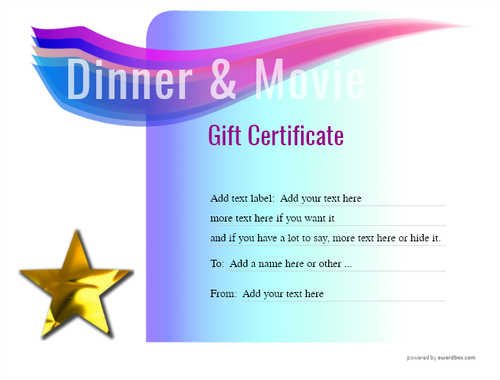 dinner and a movie gift certificate style7 blue template image-147 downloadable and printable with editable fields