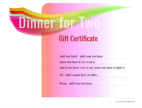 dinner for two gift certificate style7 pink template image-120 downloadable and printable with editable fields