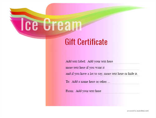 ice cream   gift certificate style7 pink template image-250 downloadable and printable with editable fields