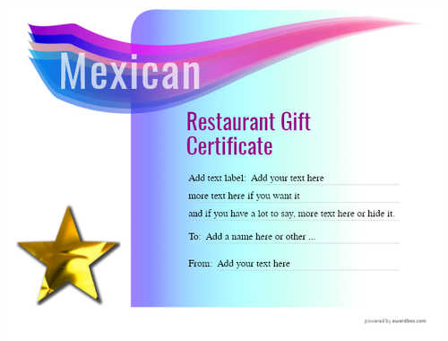 mexican restaurant gift certificates style7 blue template image-42 downloadable and printable with editable fields