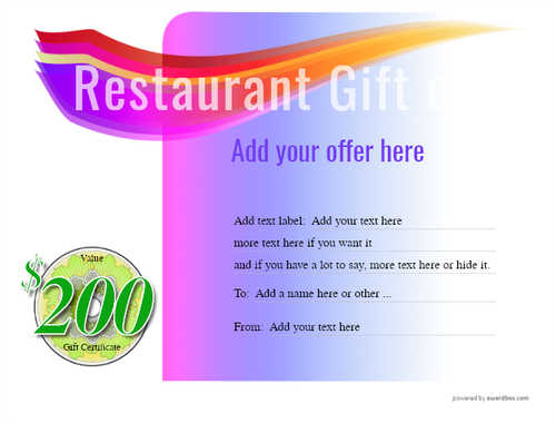 restaurant  gift certificate style7 purple template image-14 downloadable and printable with editable fields
