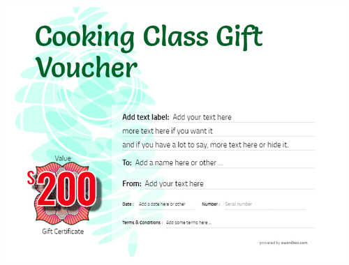 cooking class gift certificate style9 green template image-233 downloadable and printable with editable fields