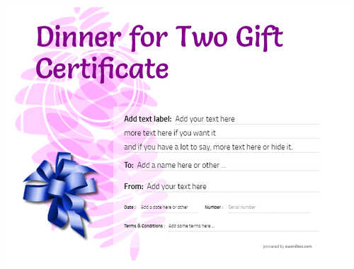 dinner for two gift certificate style9 purple template image-126 downloadable and printable with editable fields