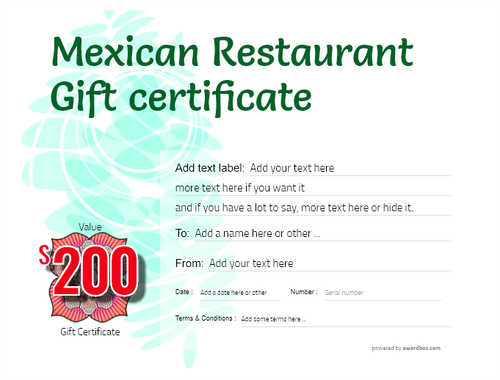 mexican restaurant gift certificates style9 green template image-50 downloadable and printable with editable fields