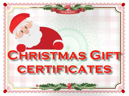 Free customizable Christmas gift certificates in nice festive designs with swappable decorations for printing