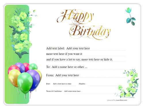 birthday gift certificate template with stylised image of couple sharing gifts free for editing, download and print