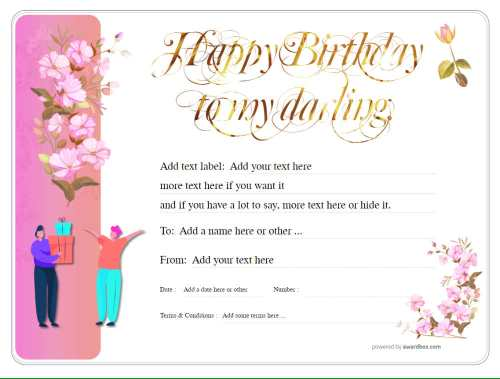 delicate pink flower design fillable certificate template for birthday gift. free to download for print