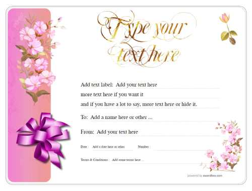 delicate pink flower design gift certificate template with pink ribbon for free download and print