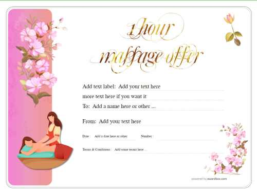 a free massage gift certificate template with light pink flower background to print at home