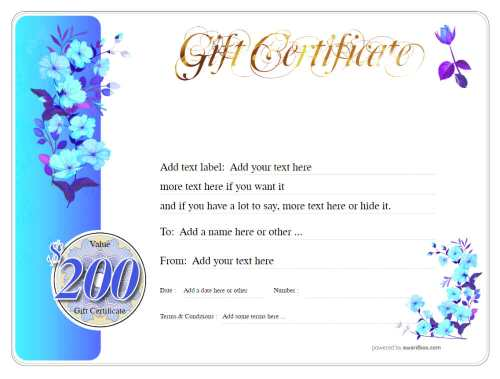 blue floral cash gift certificate template, customizable for home and commercial use, fee to donwload and print