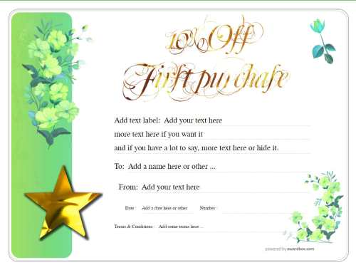 a free discount gift voucher template with green flowered background ready to edit, print or download