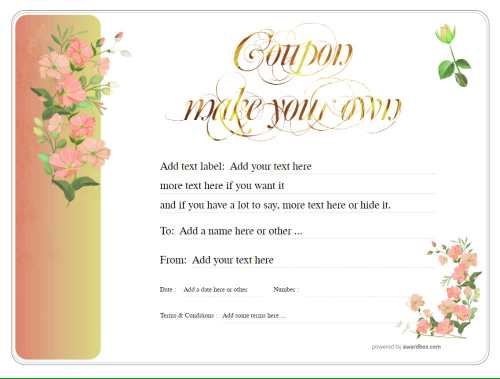 floral gift certificate template design for free printing and download. Fully editable.