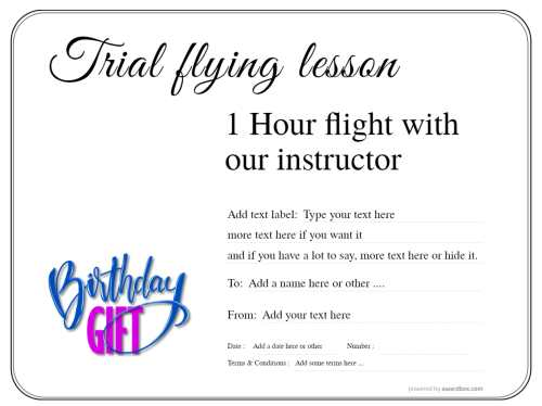 birthday flying lesson gift certificate for free template editing and downloading with swapable badges on simple white background