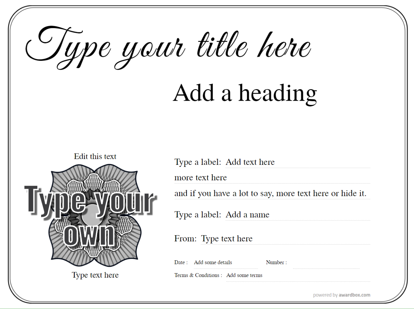customizable make your own printable gift certificate with editable badge on simple black and white border template