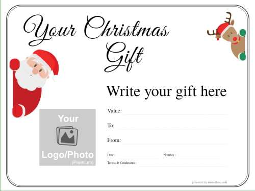 customizable christmas gift voucher with fun santa and reindeer with logo and free to print or download