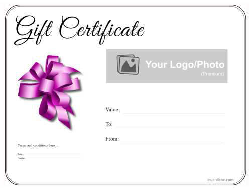 simple black and white free printable gift certificate template with lined border and pink ribbon decoration