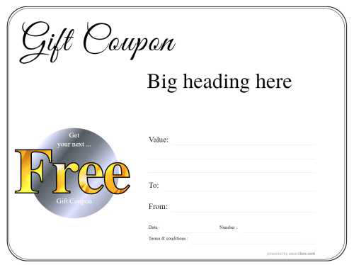 simple black and white border free customizable coupon template with black script heading and fillable graphic roundal