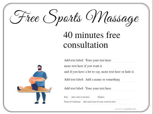 free sports massage gift certificate design on a simple line border background with stylised male massage figures template