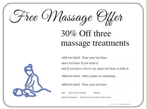30% discount gift certificate offer for massage treatments with therapist line graphic fully customizable and free to download