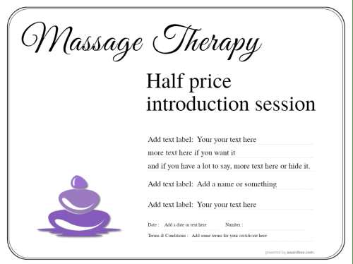 Half price introduction massage gift certificate for free commercial or home print usewith fillable text areas
