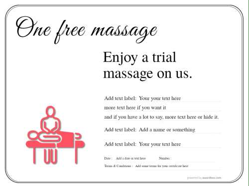 simple design with line border free massage gift certificate template with customizable text and design for download or print