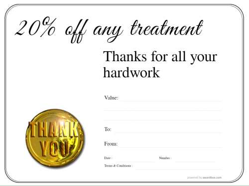 free discount spa treatment coupon template, fully editable for printing at home or professionally. Has simple line border