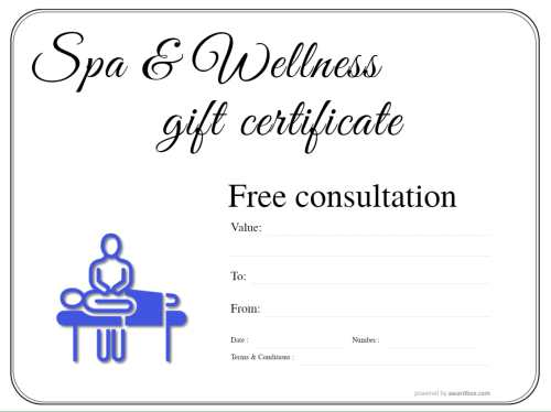 free spa and wellness gift certificate customizable templates with changeable badge decorations for home or commercial print