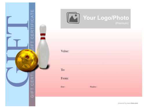 free ten pin bowling gift certificate modern style template blue and red background vignette with printable skittle decoration