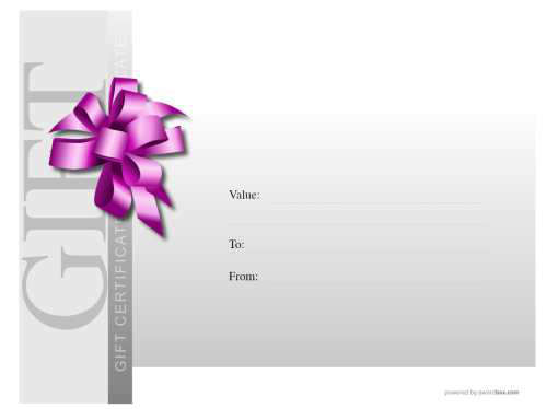 customizable modern free gift template with serial number purple ribbon enhancement on grey background for printing