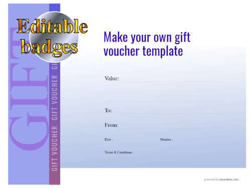 modern style make your own downloadable gift voucher blue background vignette with fillable text and editable blue currency badge