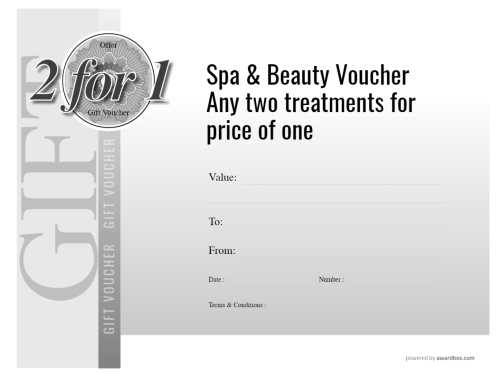 two for one free spa and beauty gift voucher template, text editable. downloadable for home or commercial print