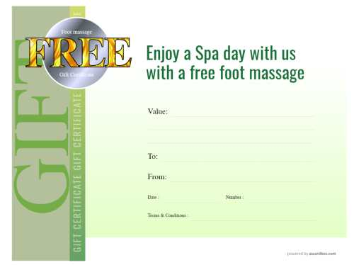 foot massage spa gift certificate template design on green graduated background for print or social media as a download