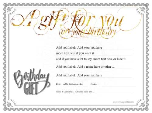 editable script gold lettering for any birthday gift message on traditional border design, free template for printing