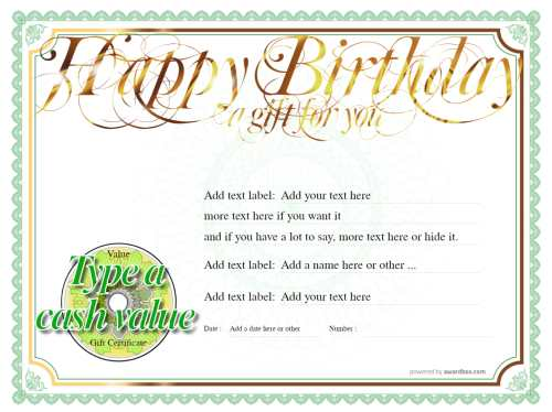 happy birthday free gift certificate template on gold and green design with fully editable text and editable cash value for print