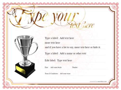 classic style free gift template gold and red border on white background printable with silver trophy decoration