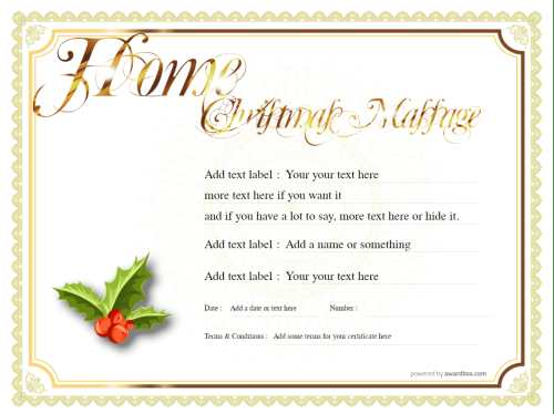 a free massage gift certificate template with editable text and design in a christmas theme to print at home