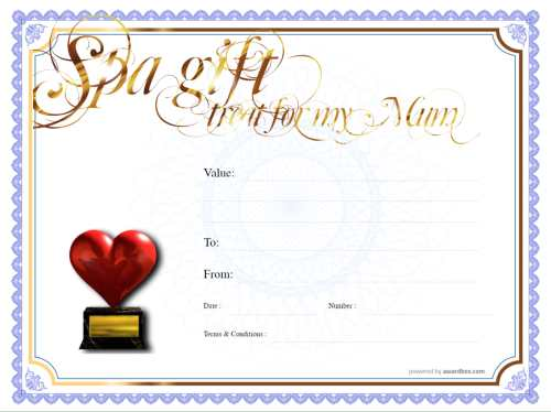 printable treat yourself gift certificate on a blue background with fully editable gold text and special feature decorations