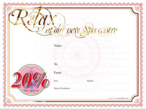 20 percent off free spa treatment gift certificate template with swirly script gold editable text and editable badges